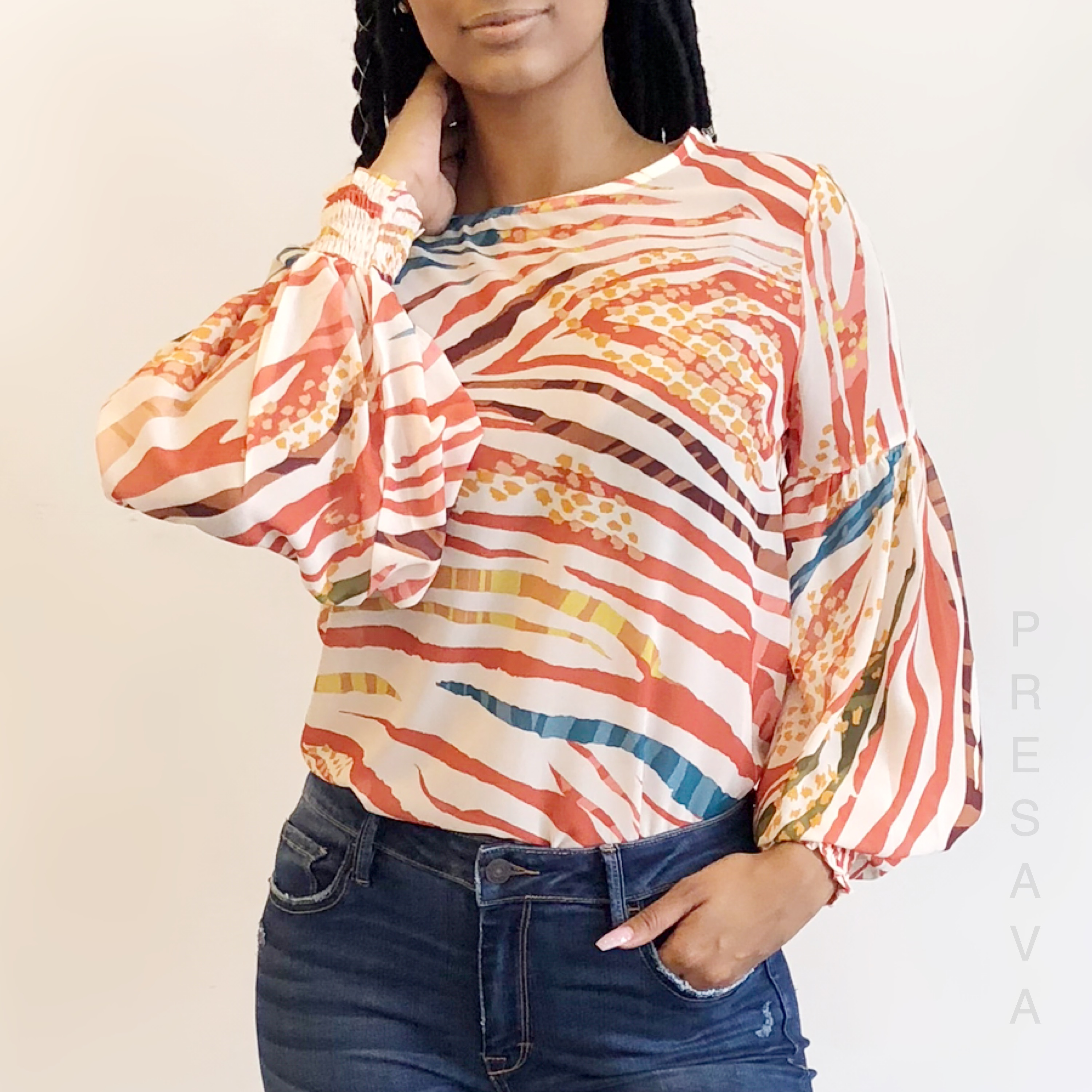Spiced Abstract Print Top