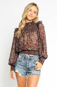 Ruffle Shoulder Blouse