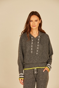 Star String Hooded Knit Top