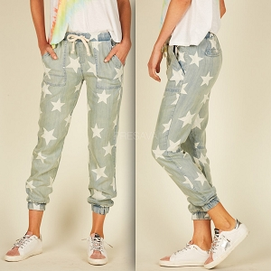 Star Chambray Drawstring Pocket Pants