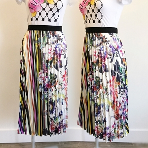 Loriane Pleated Floral Skirt