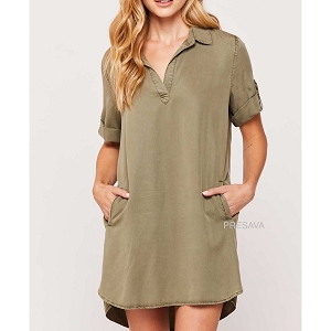 Olive Army Shift Dress