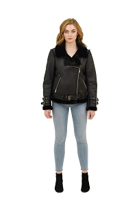 Metal Zippers Shearling Jacket