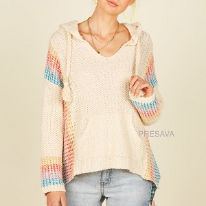 Jada Knit Stripe Sleeve Knit Hooded Top