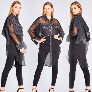 Sheer Top With Denim Panels
