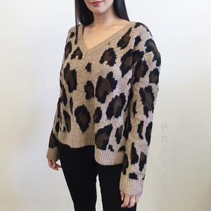 Leopard Soft Vneck Sweater