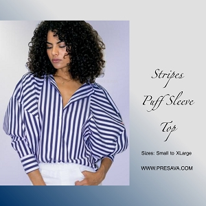 Blue Stripes Puff Sleeves Top