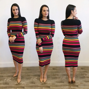 Multi Stripe Ribbed Knit Midi Dress