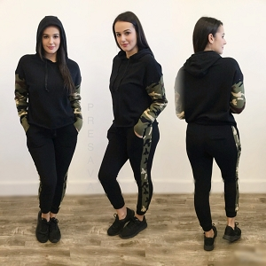 Black Camo Sweater Sleeve Hoody