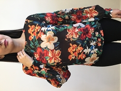 Black Floral Bubble Sleeve Print Top