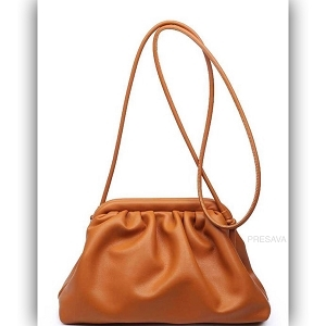 Smooth Tan Ruched Bag