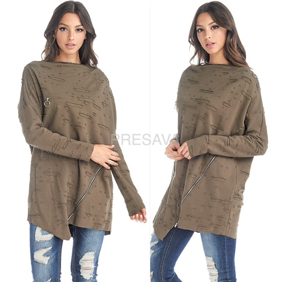 Olive Torn Zip Sweatshirt