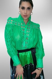Statire Eyelet Emerald Blouse