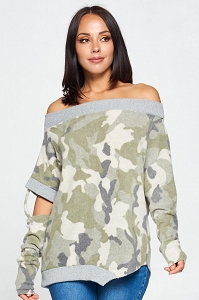 Chloe Asymmetrical Camo Top