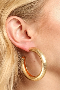 Matte Gold Finish Hoop Earrings