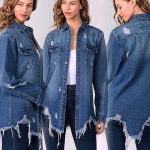 Miah Torn Denim Shirt Jacket